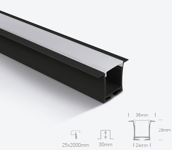 Perfil Led Embutir 36mm 20W Preto 1 Metro  - Giamar