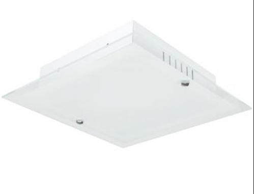 Plafon Vidro Jateado Fosco UPZ Toledo Embutir Quadrado P/ 1 Lampada  - Giamar