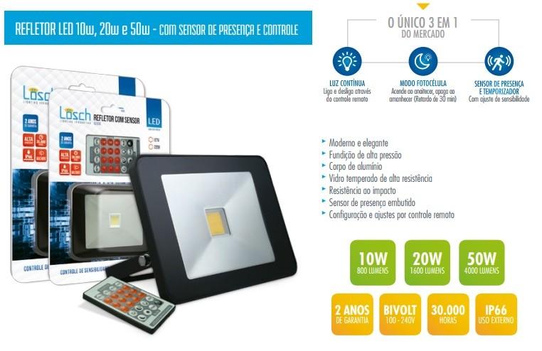Refletor LED C/ SENSOR e CONTROLE REMOTO   - Giamar