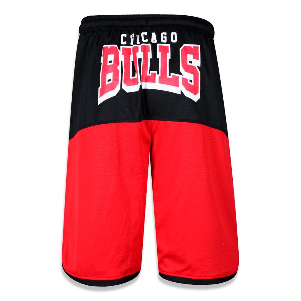 Bermuda New Era Dupla Face Chicago Bulls Nba Vermelha  Preta