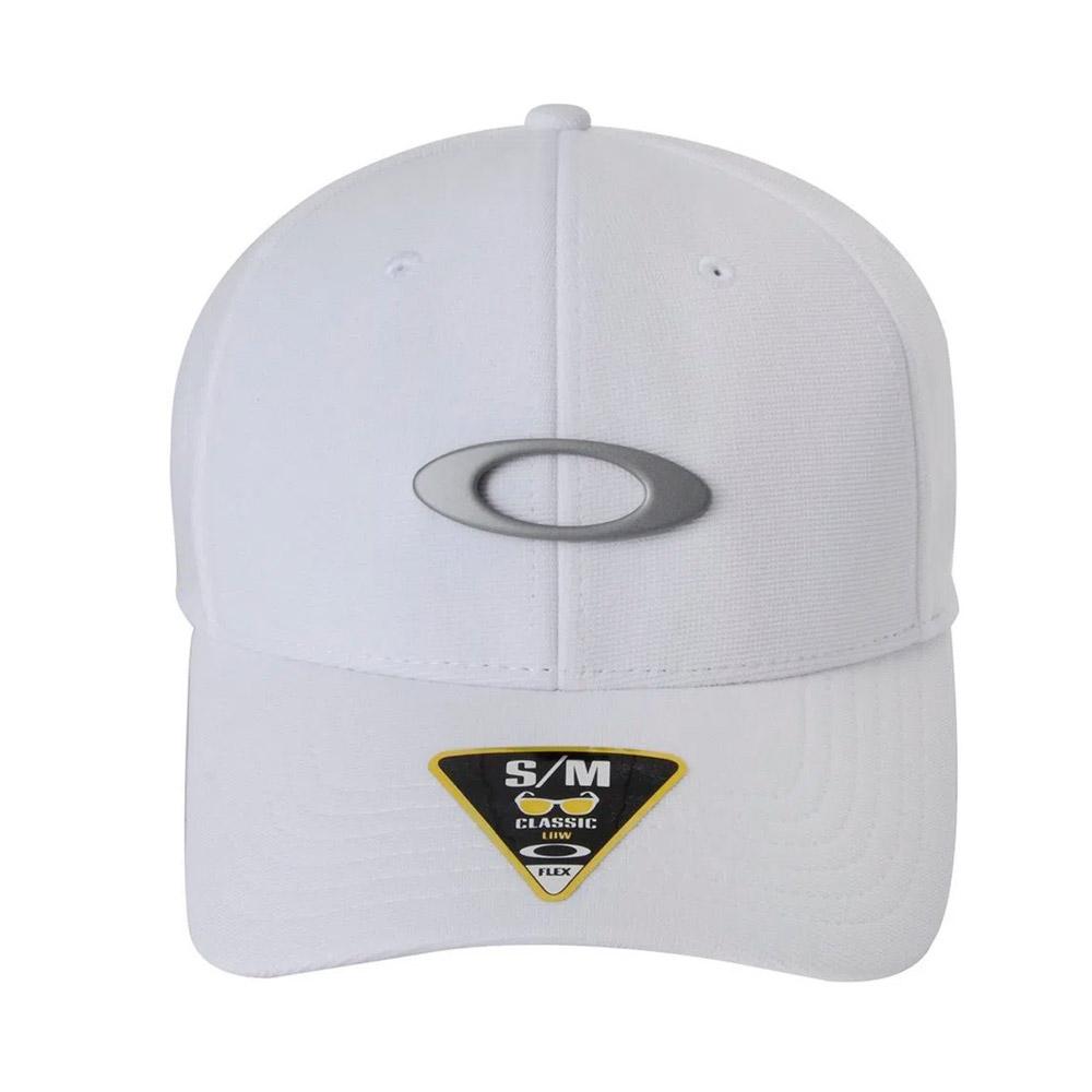 BONÉ OAKLEY ABA CURVA TINCAN CAP BRANCO LOGO CINZA