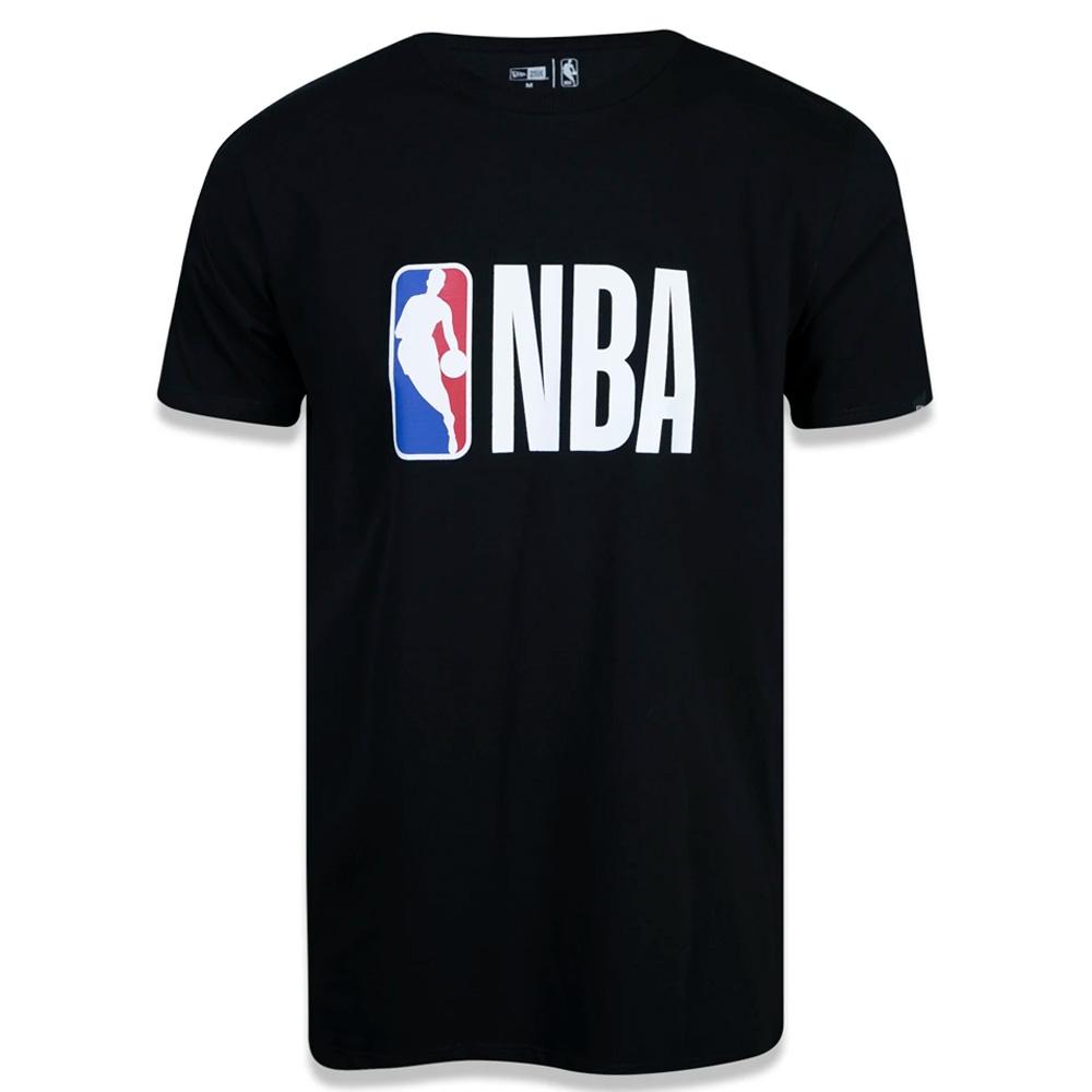 CAMISETA NEW ERA MASCULINA PLUS SIZE LOGO NBA PRETA
