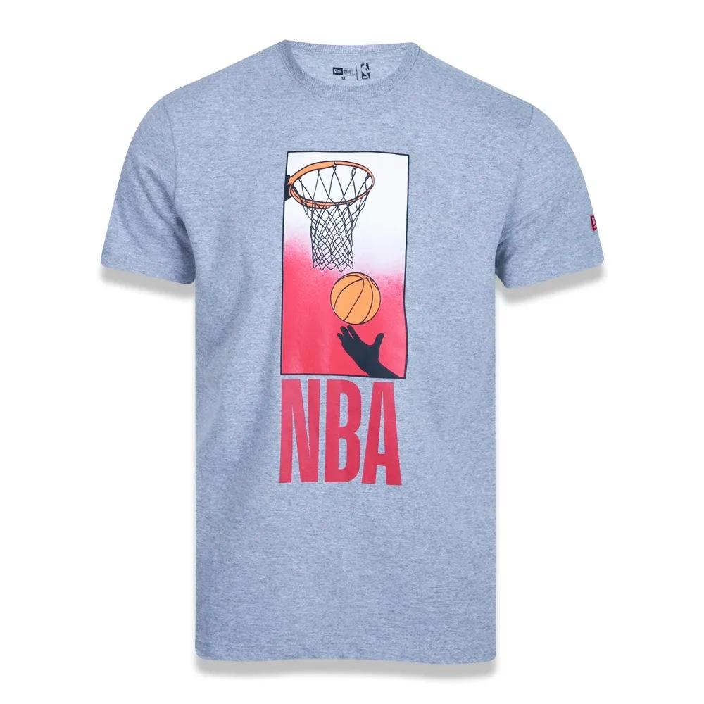 CAMISETA NEW ERA MASCULINA PLUS SIZE NBA PLAYING CINZA
