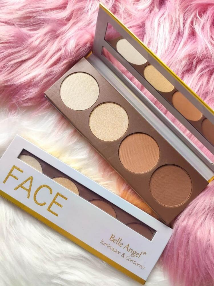 Belle Angel Paleta Iluminador e Contorno Face - embalagem dourada