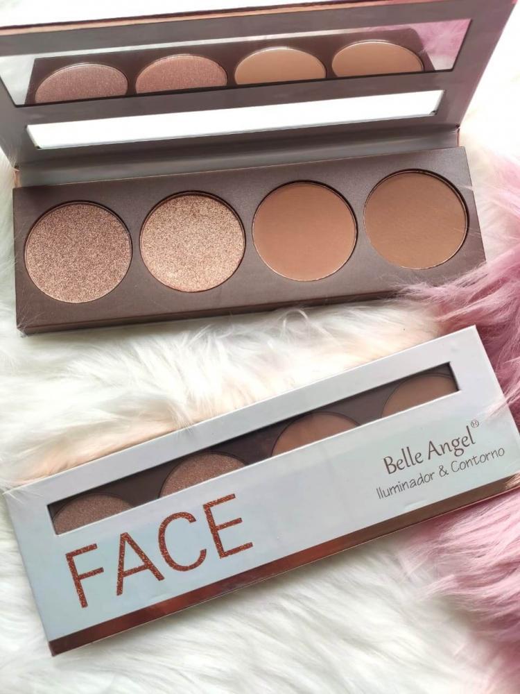 Belle Angel Paleta Iluminador e Contorno Face - embalagem rosê