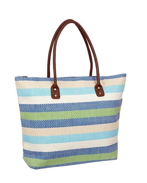 Bolsa de Palha para Praia - Azul Listras