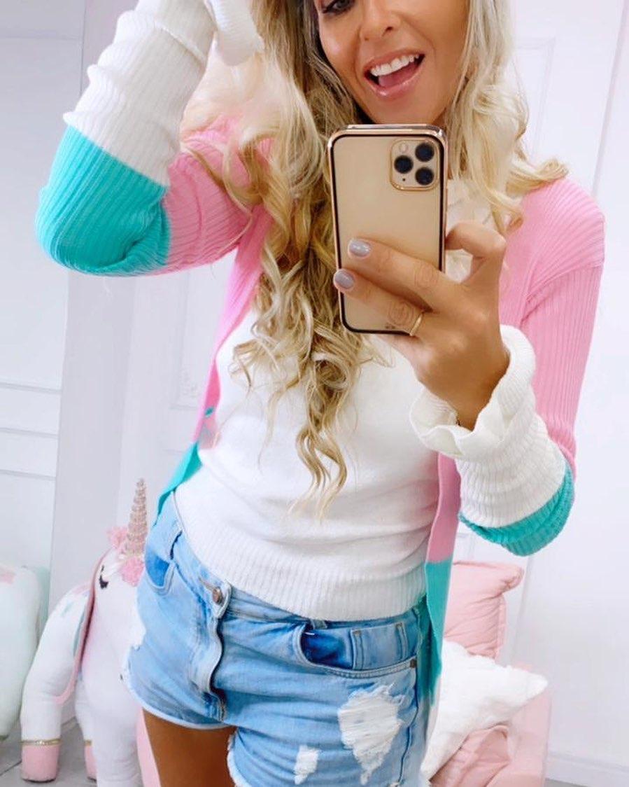 Cardigan Tricot listras Candy Colors - TAMANHO ÚNICO