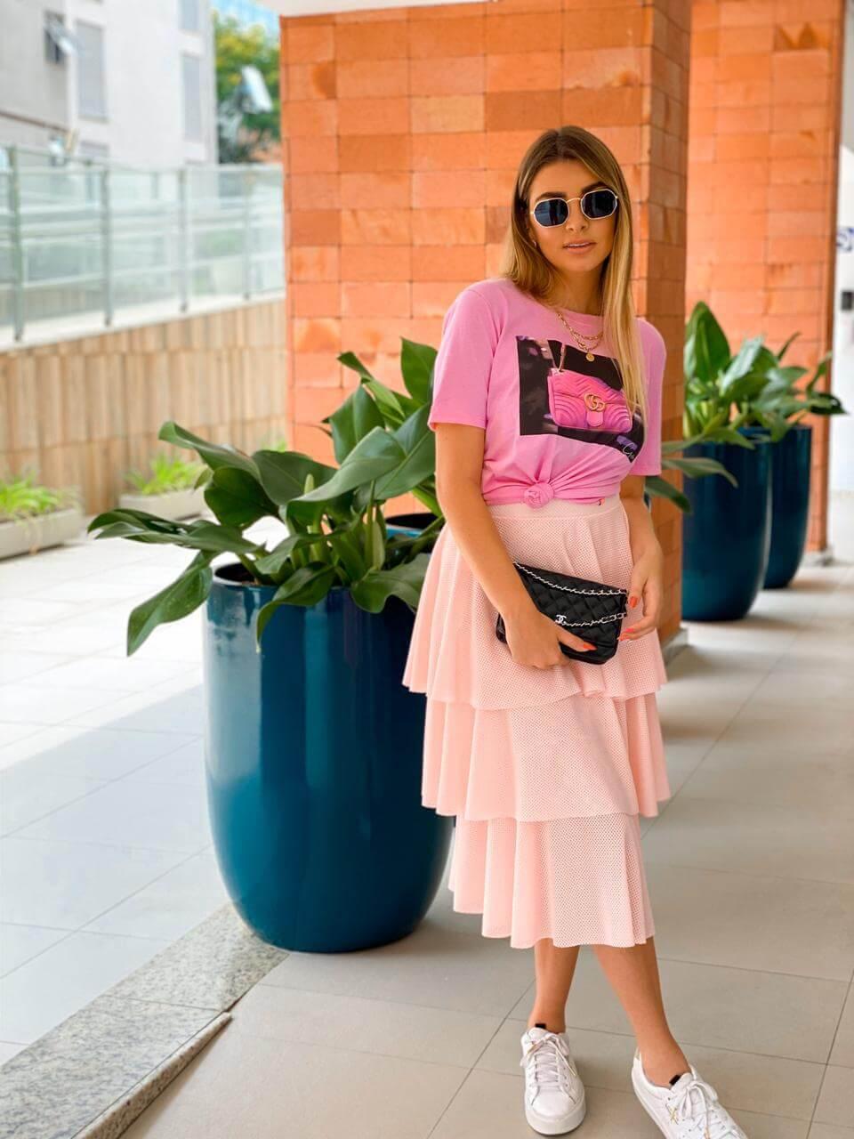 Corina T-Shirt Estampada Bolsa Rosa - Rosa