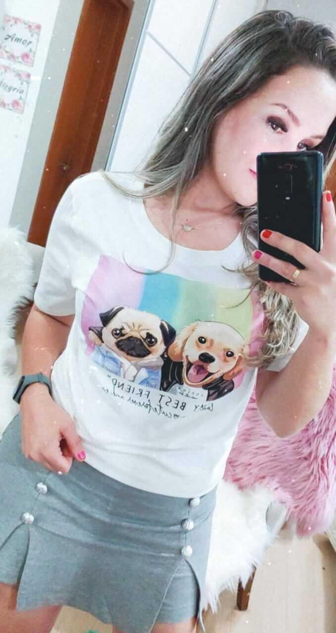 Corina T-Shirt Estampada Dogs Best Friend - Off White