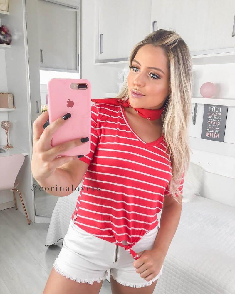 Corina T-Shirt Listras Vermelha com Amarração - TAMANHO P