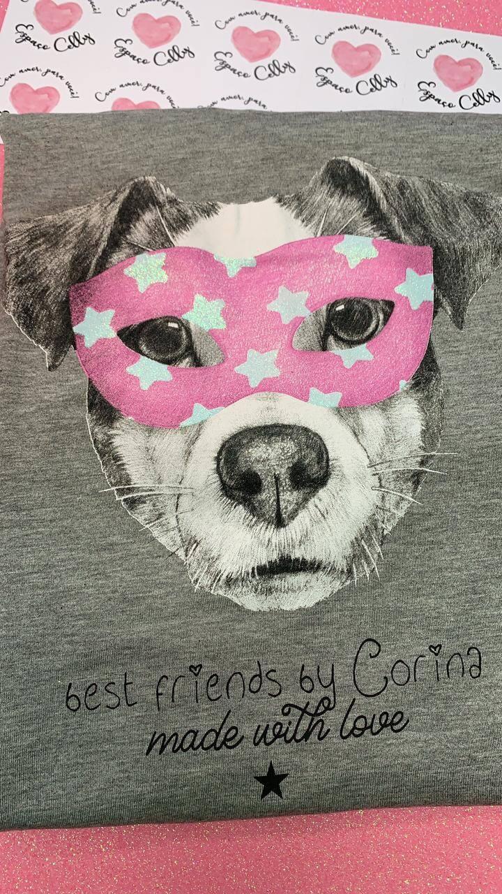 Corina T-Shirt Manga Longa Dog Máscara - Mescla Médio