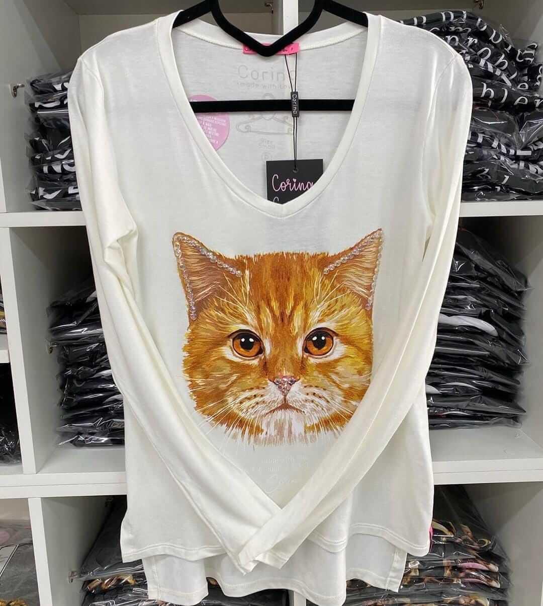 Corina T-Shirt Manga Longa Gato - Off White - com bordado