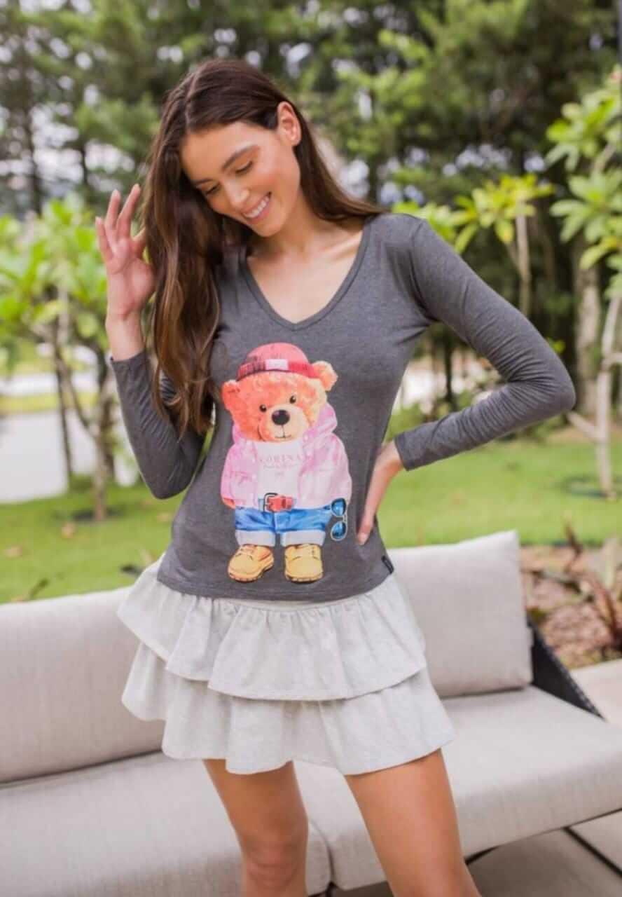 Corina T-Shirt Manga Longa Urso - Mescla Escuro