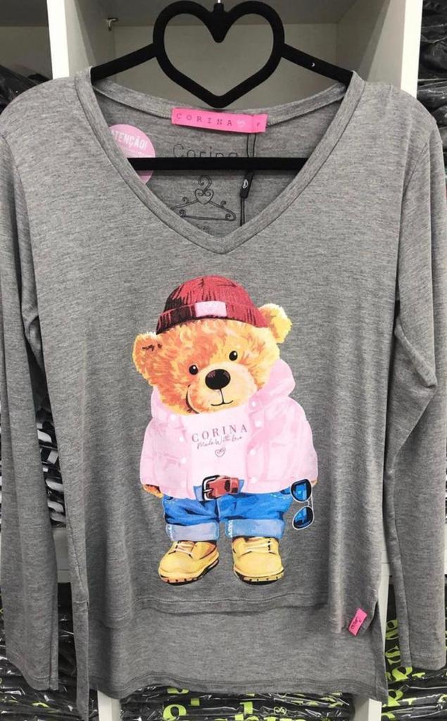 Corina T-Shirt Manga Longa Urso - Mescla Médio