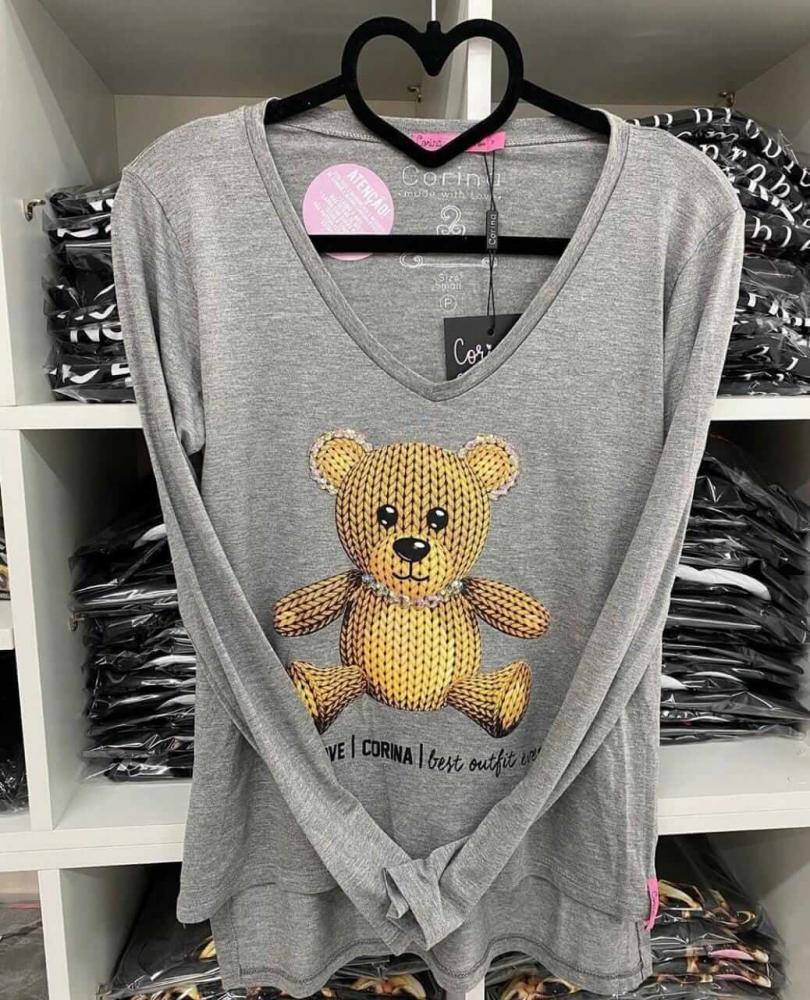 Corina T-Shirt Manga Longa Urso - Mescla Médio - com bordado