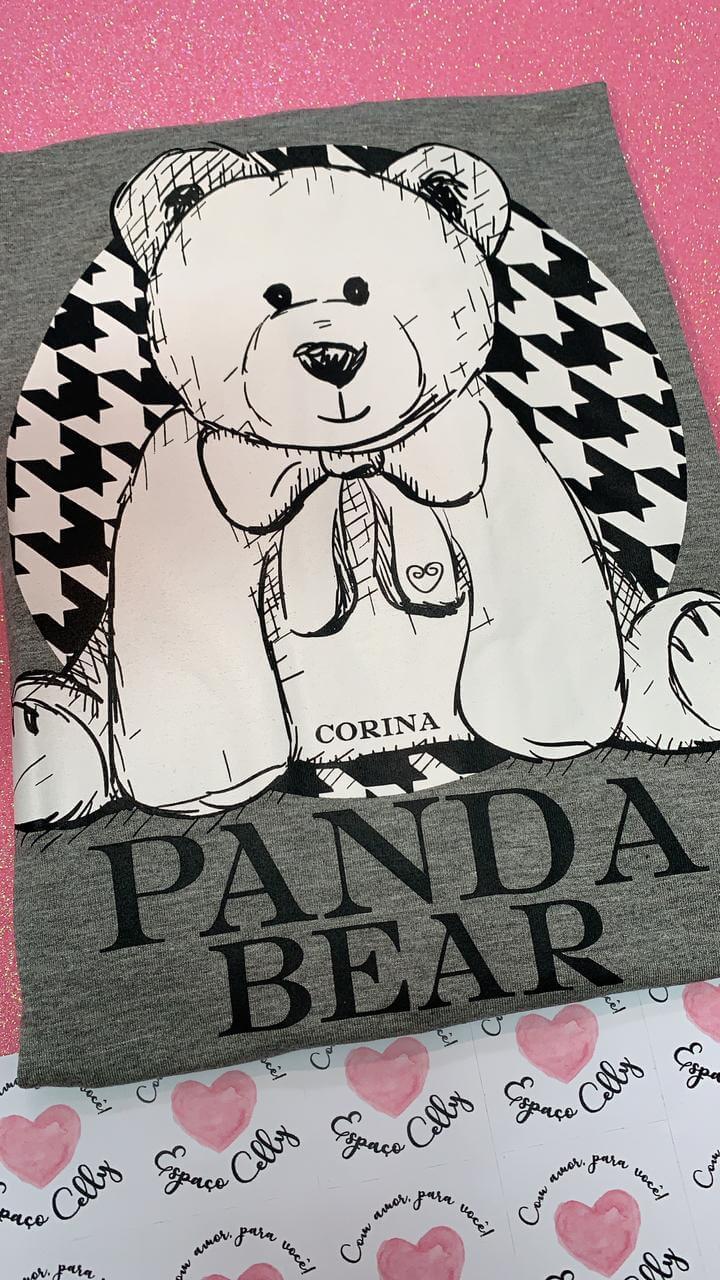Corina T-Shirt Manga Longa Urso Preto e Branco - Panda Bear - Mescla Médio