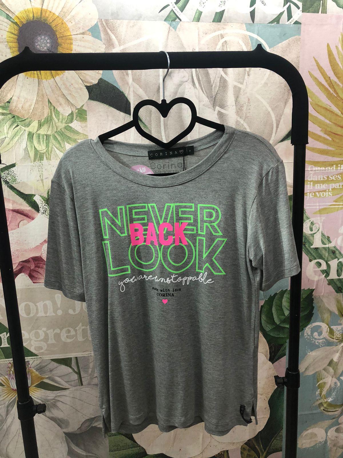 Corina T-Shirt Never Back Look - Mescla médio com estampa neon