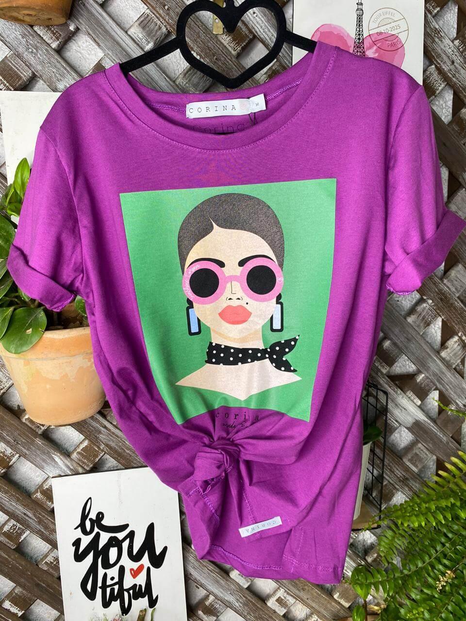 Corina T-Shirt Roxa Estampada - Mulher Óculos Rosa