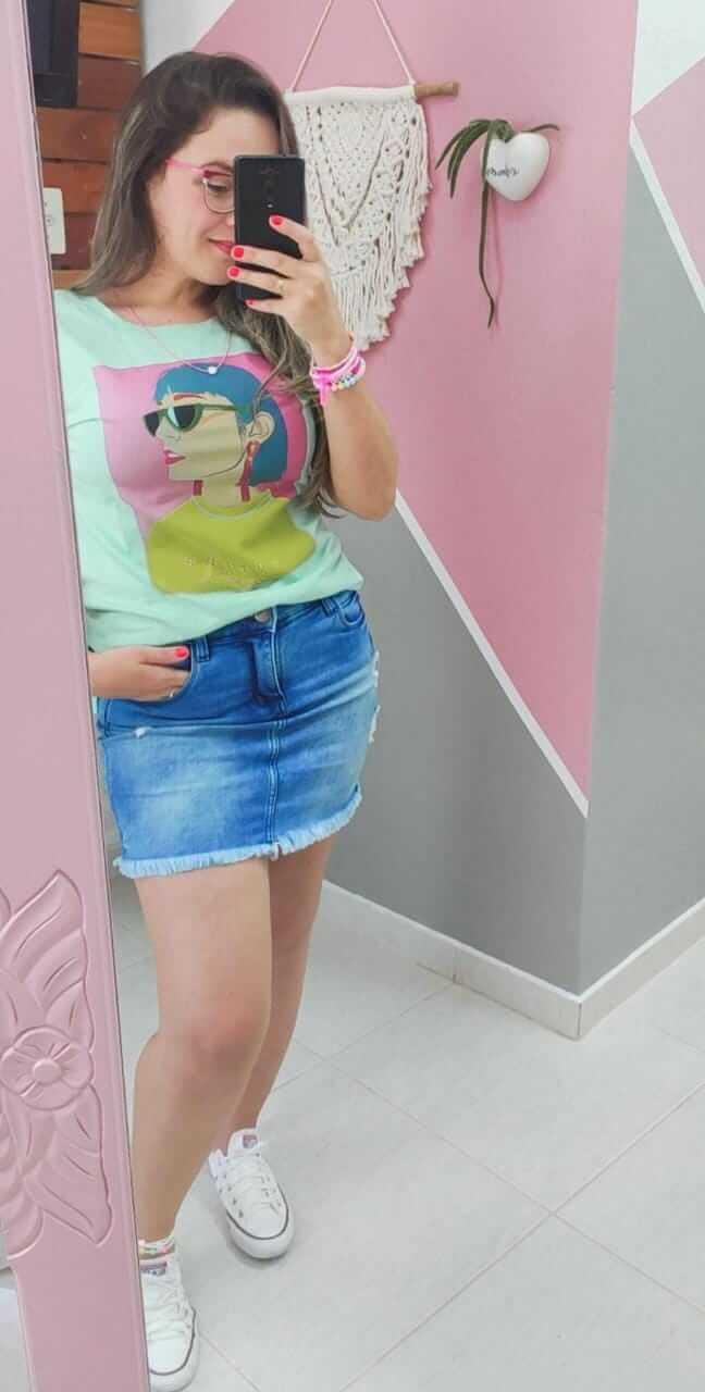 Corina T-Shirt Verde Candy Estampada - Mulher Colors