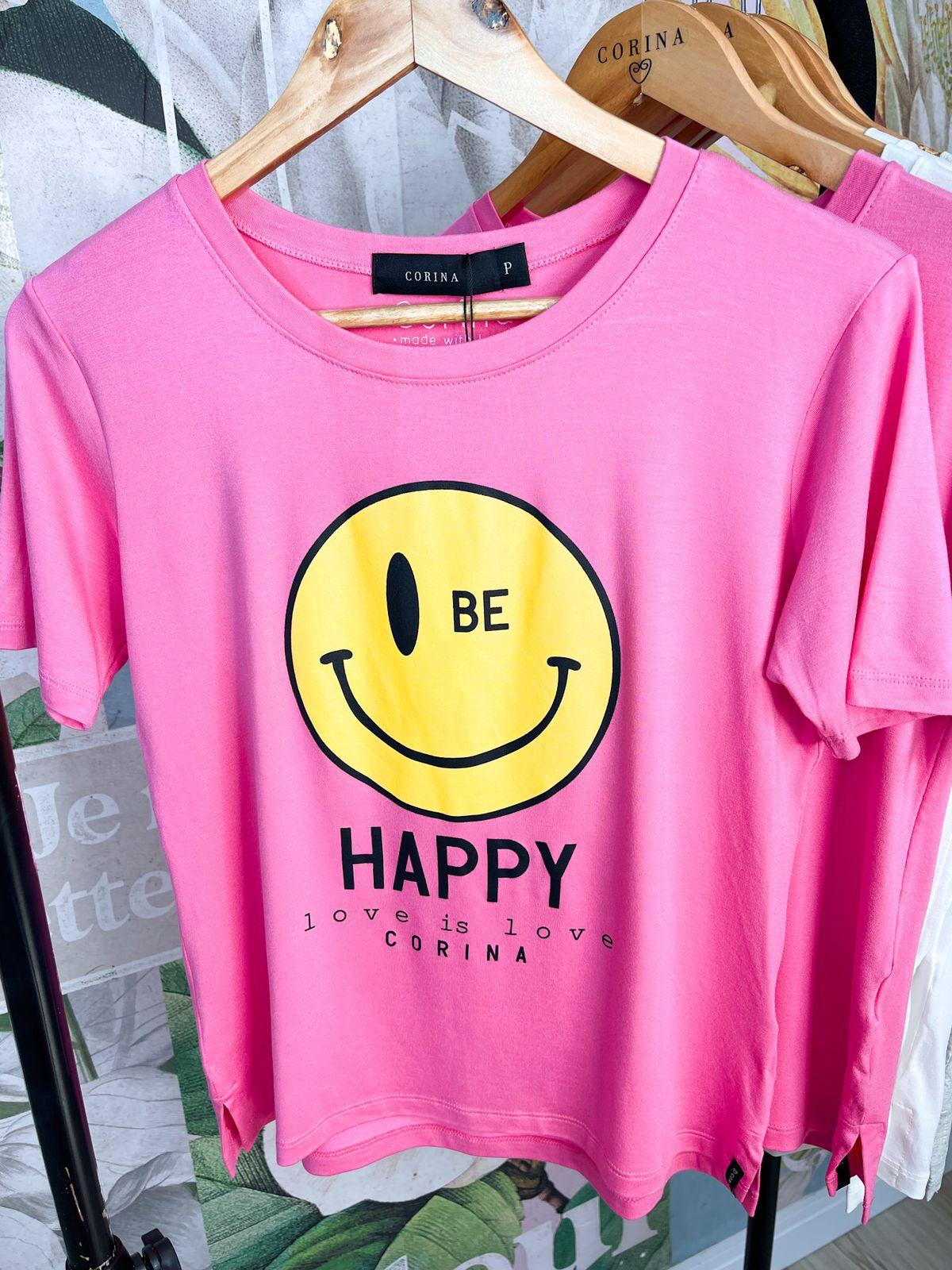 Corina T-Shirt Viscose - Be Happy - Rosa