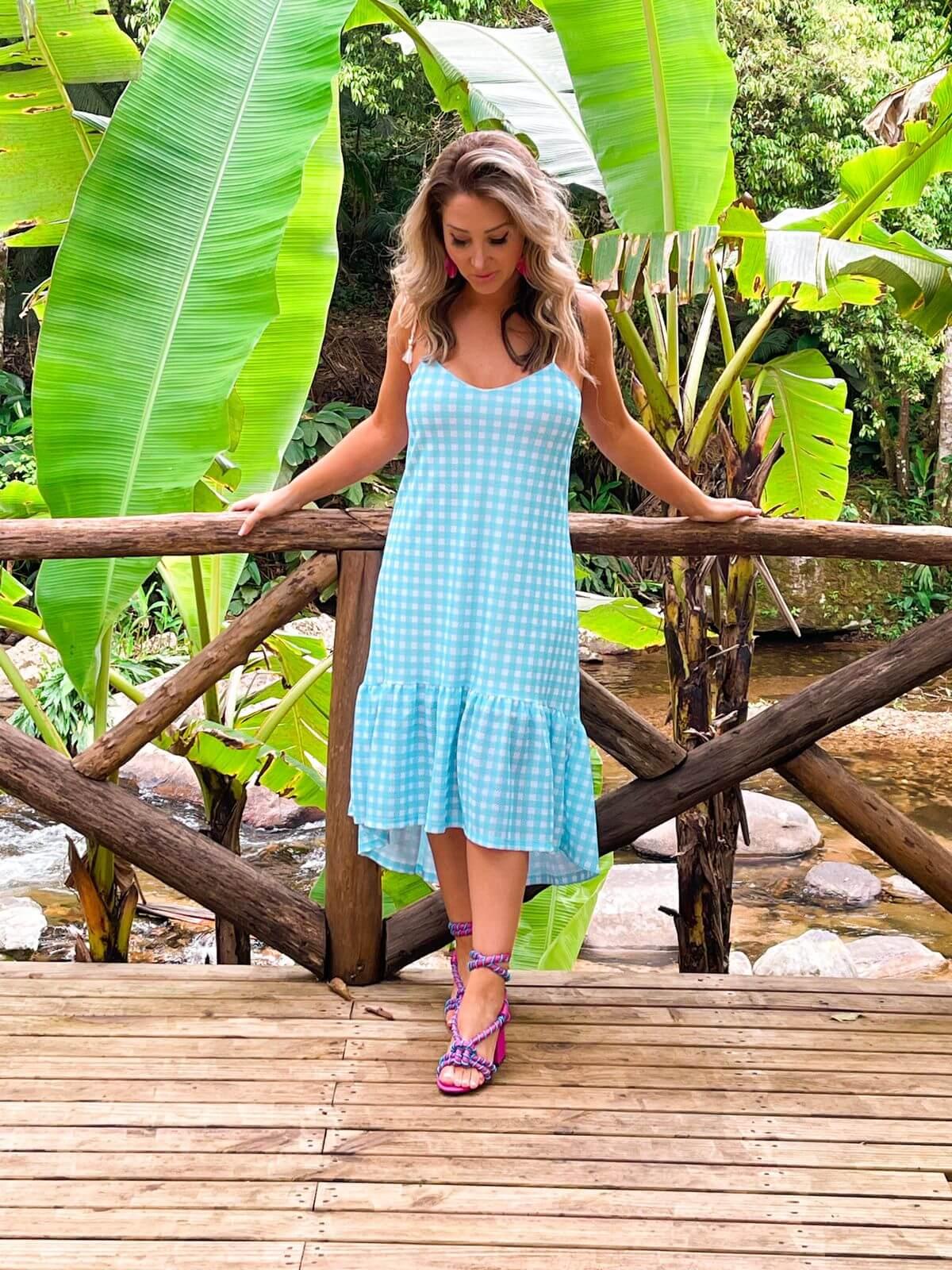 Corina Vestido de tela Vicky Ariane - Azul