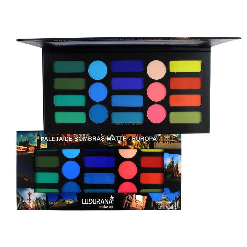 Ludurana Paleta de Sombras Matte Europa - 18 cores