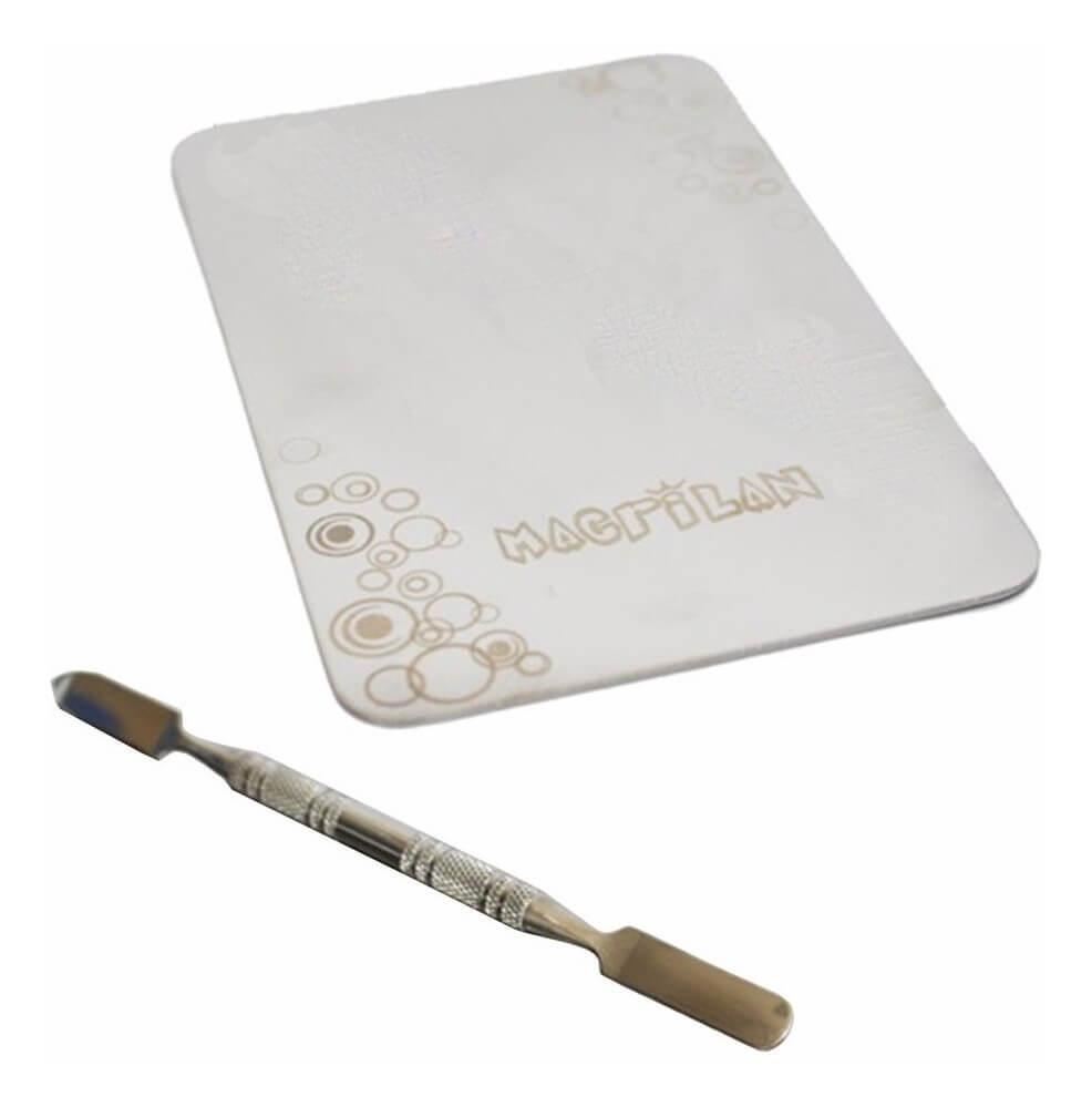 Macrilan Placa e Espátula de Aço Inox para Maquiagem AC04