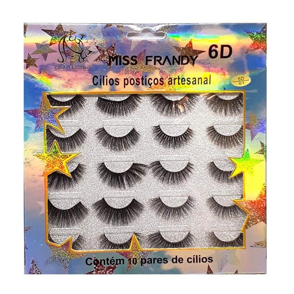 Miss Frandy Cartela com 10 Pares de Cílios Postiços 6D