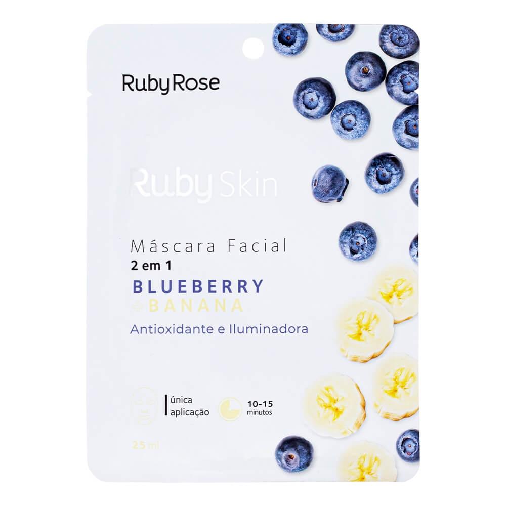 Ruby Rose Máscara Facial Blueberry e Banana - Antioxidante e Iluminadora