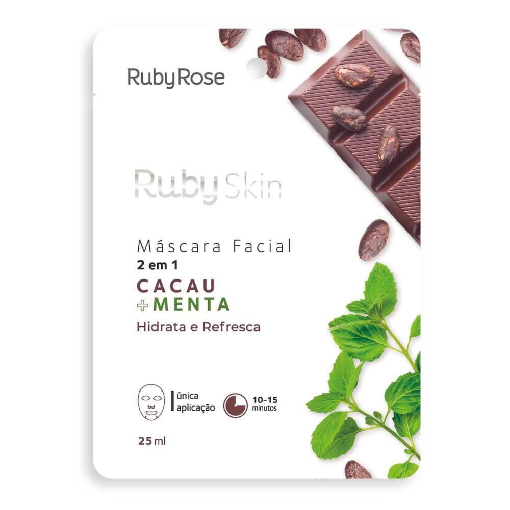 Ruby Rose Máscara Facial Cacau e Menta - Hidrata e Refresca