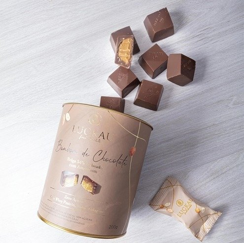 BOMBOM CHOCOLATE BELGA 200G AMENDOIM  LUCKAU