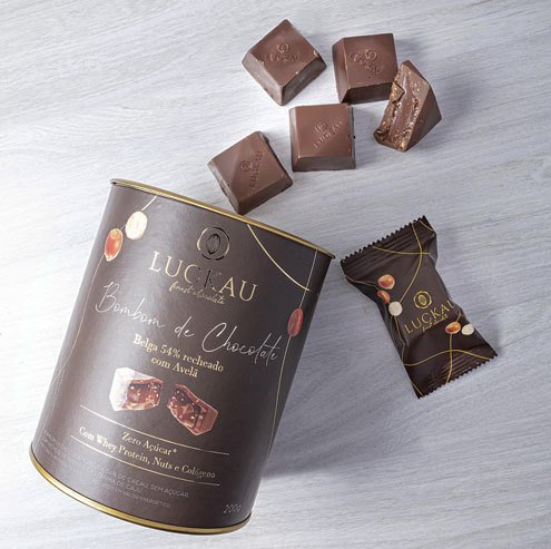 Bombom de Chocolate Belga Zero Açúcar 54% - Creme de Avelã - 200g