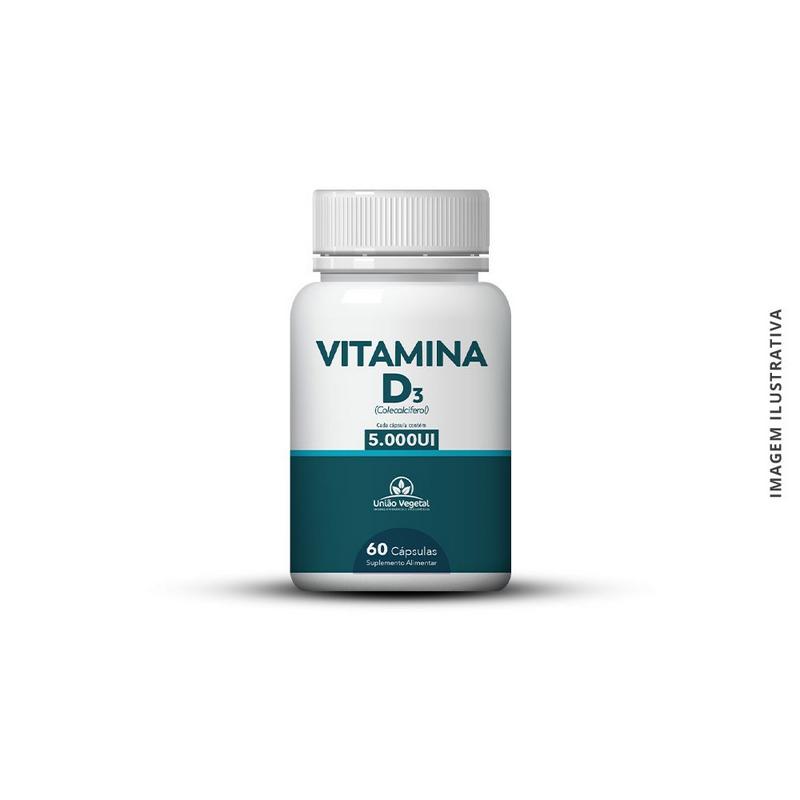 Vitamina D3 - 60 cápsulas - 5000Ui - União Vegetal