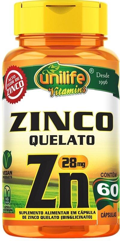 ZINCO QUELATO ZN | 60 CÁPSULAS | UNILIFE