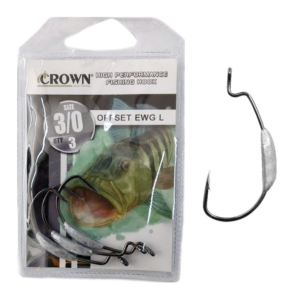 Anzol OffSet EWG Lastreado 3un. Crown