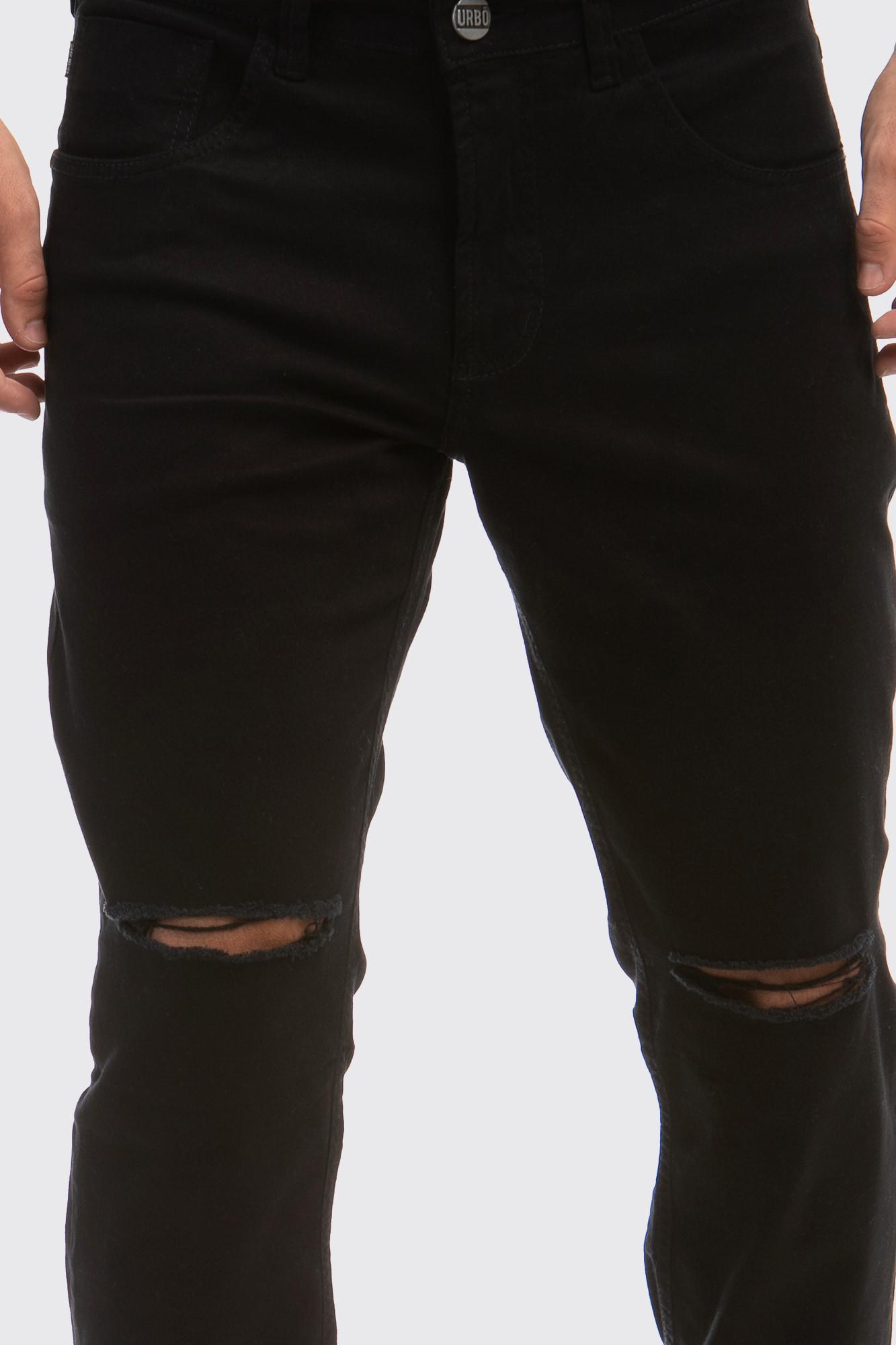 Calça Slim Fit Brim Ever Black Destroyed