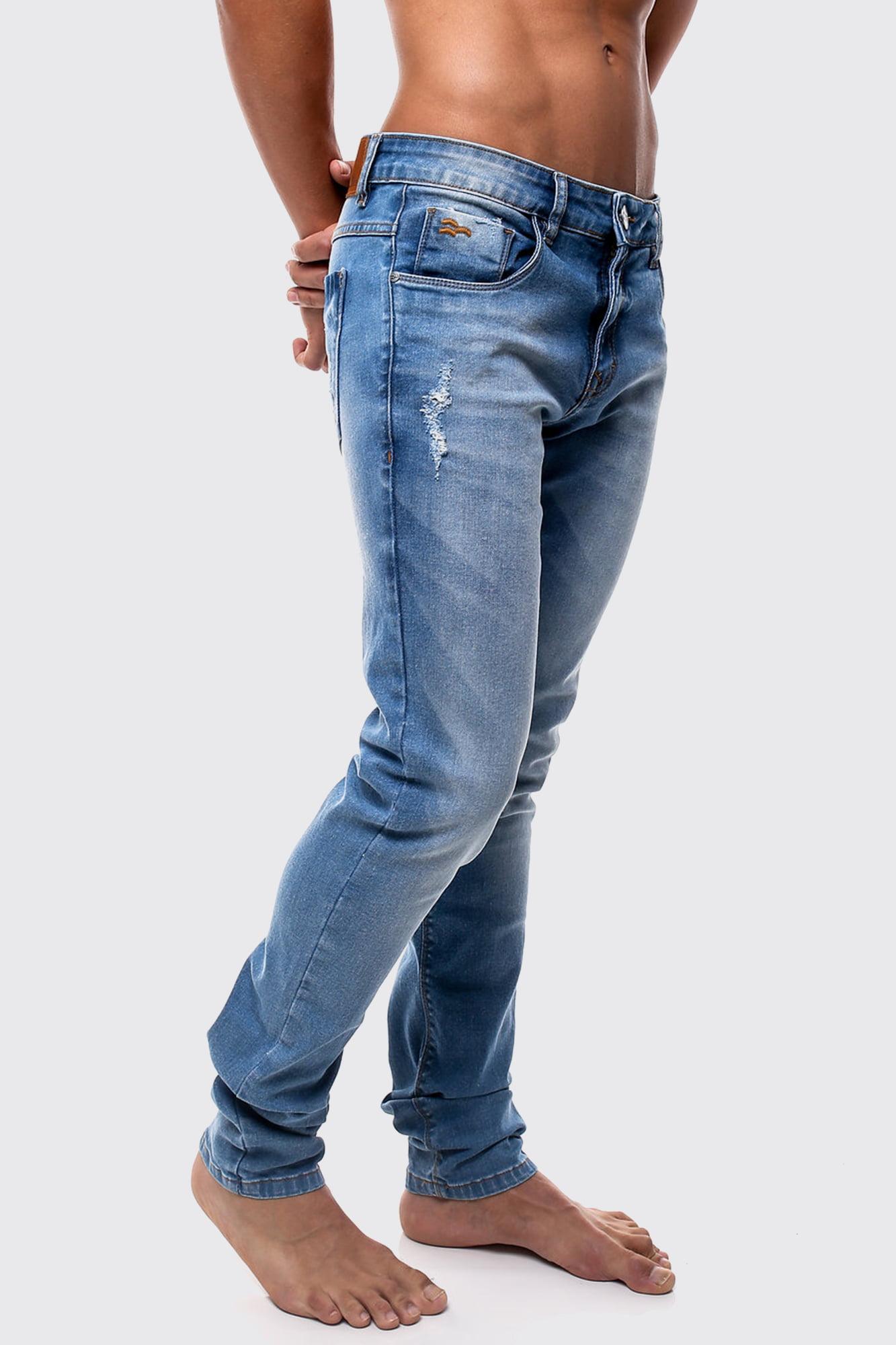 Calças Jeans Azul Clara Yellow Lines