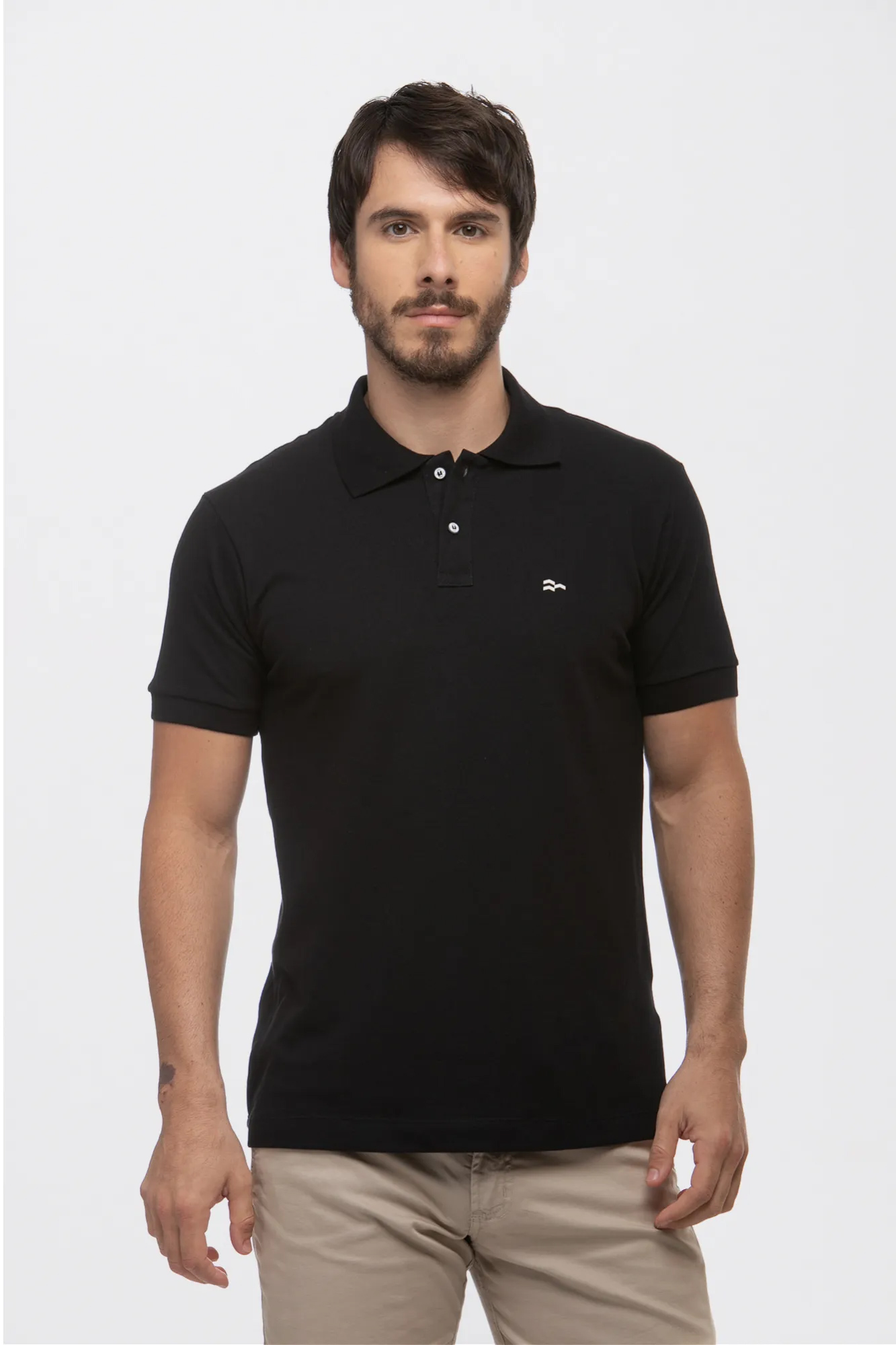 Camisa Polo Basic Cotton Black