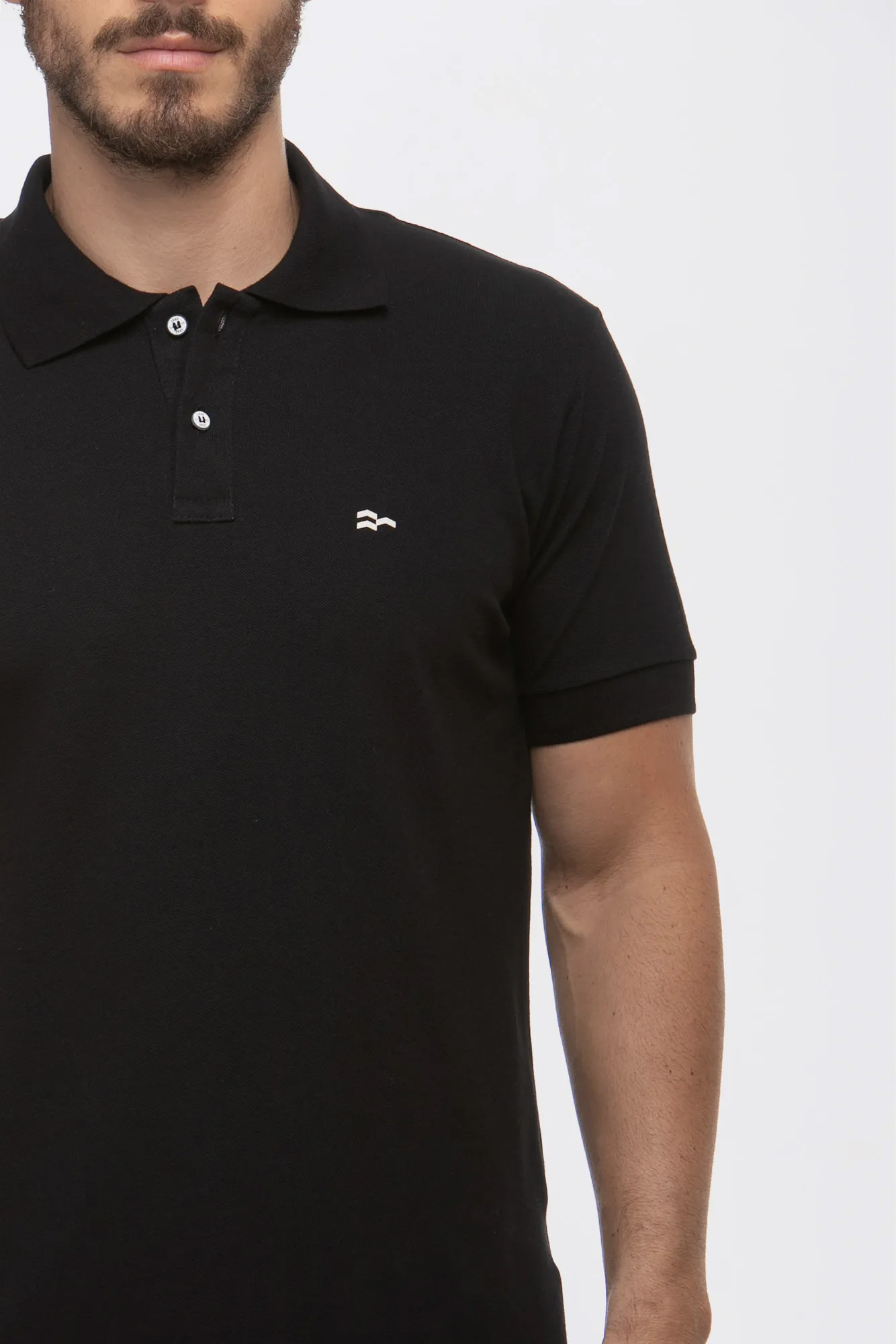 Camisa Polo Basic Cotton Black