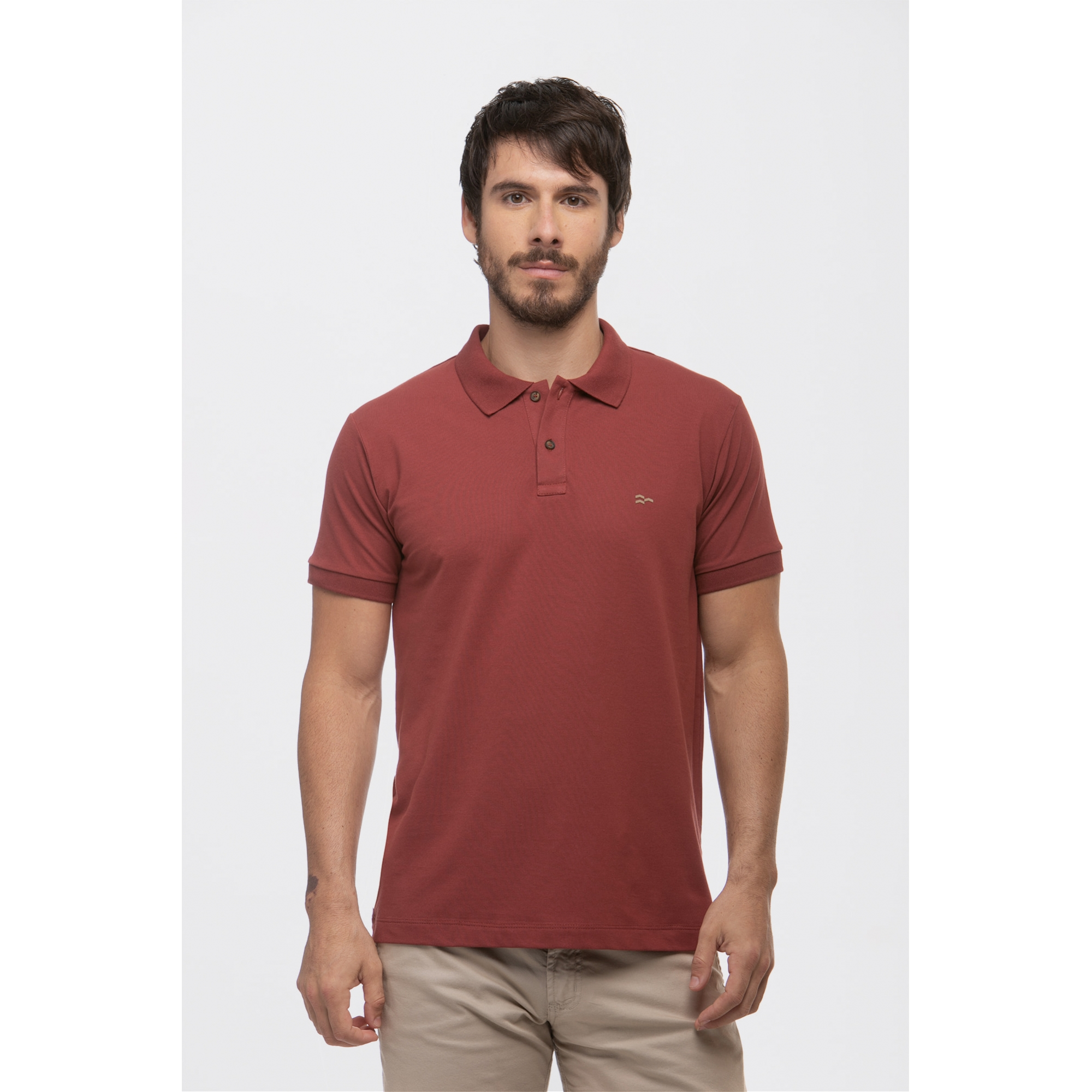 Camisa Polo Basic Cotton Bordô
