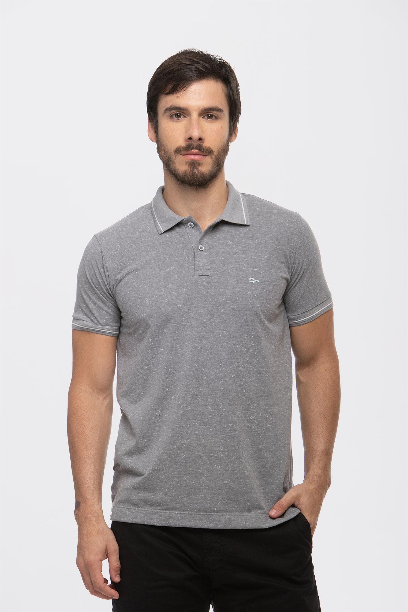 Camisa Polo Botonê Cinza