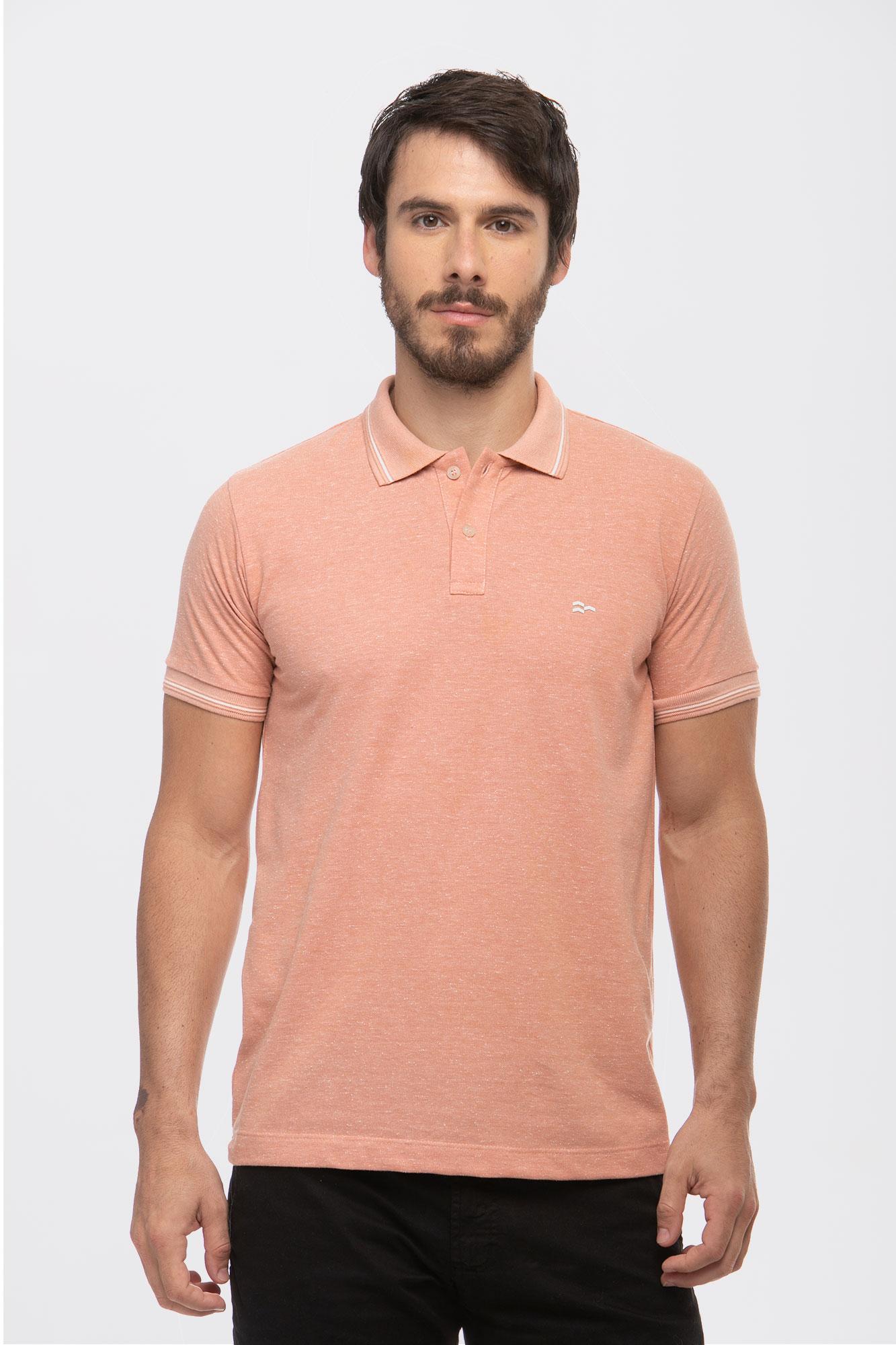 Camisa Polo Botonê Salmão