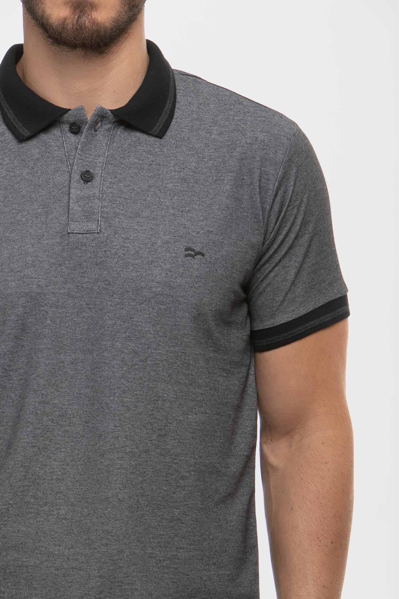 Camisa Polo Piquet Denim Black