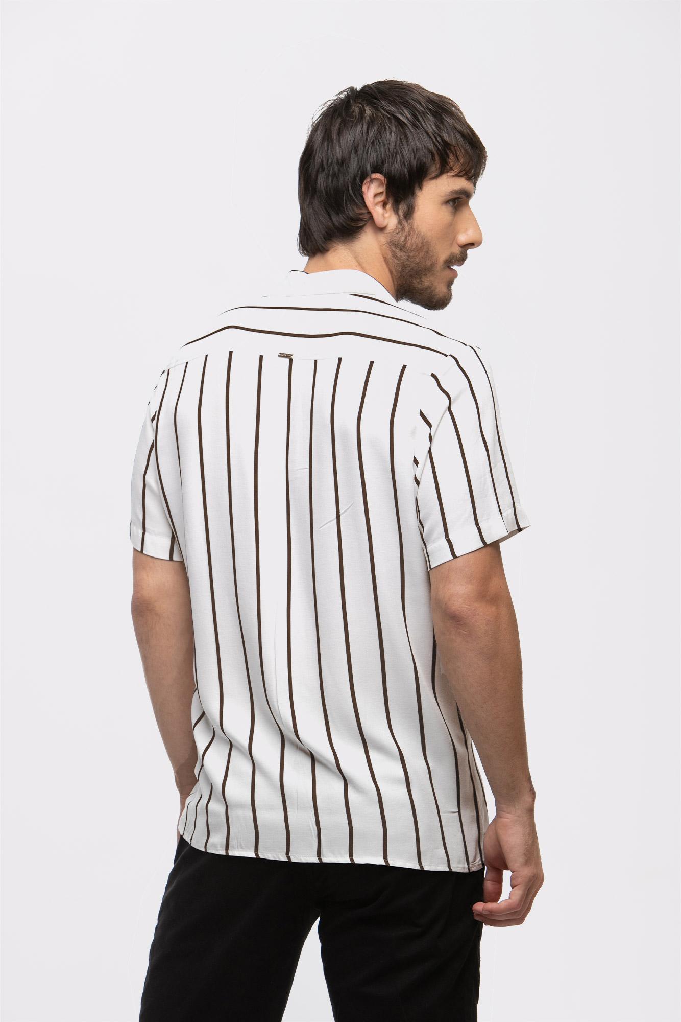 Camisa Social MC Brown Lines