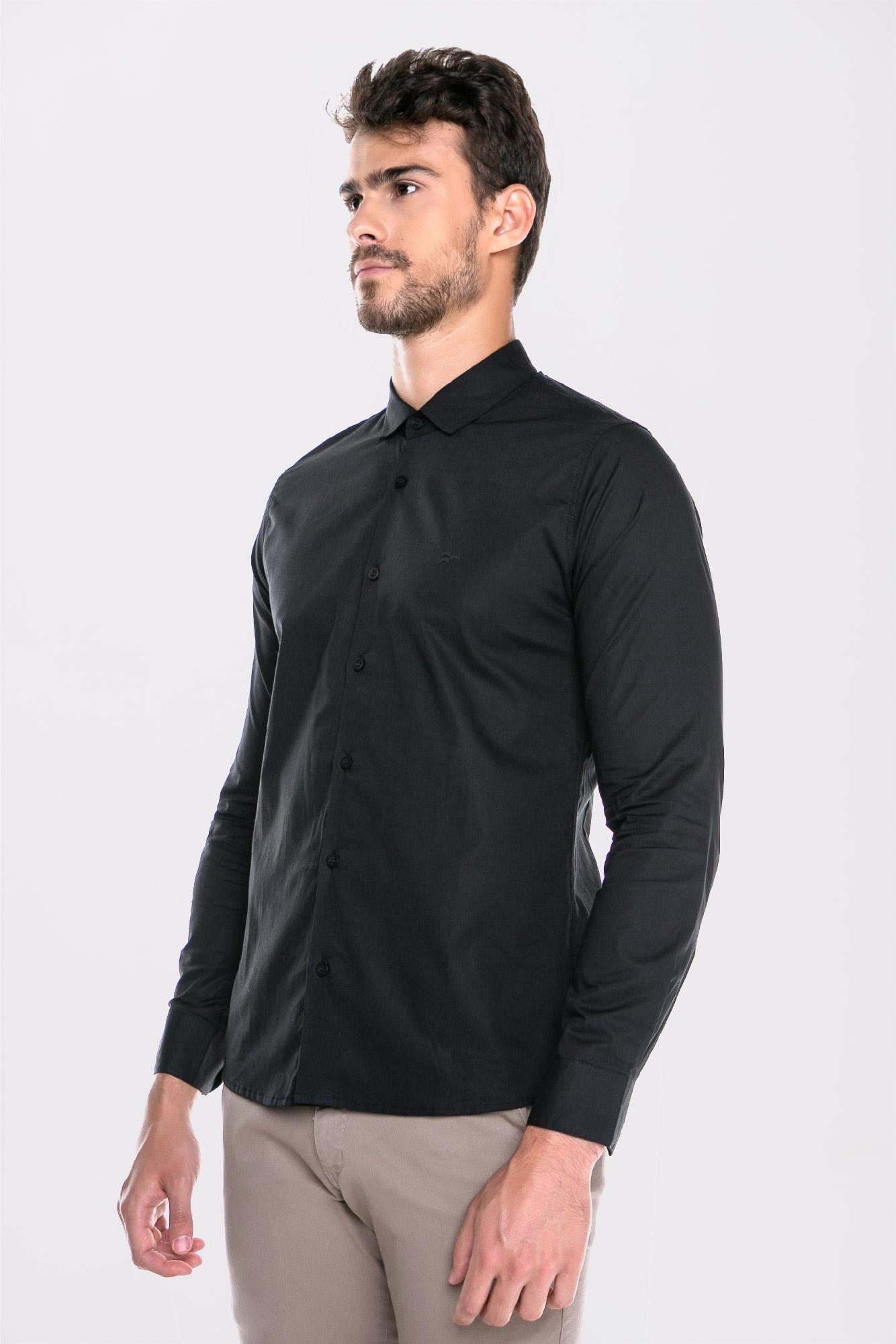 Camisa Social Ml Confort Black