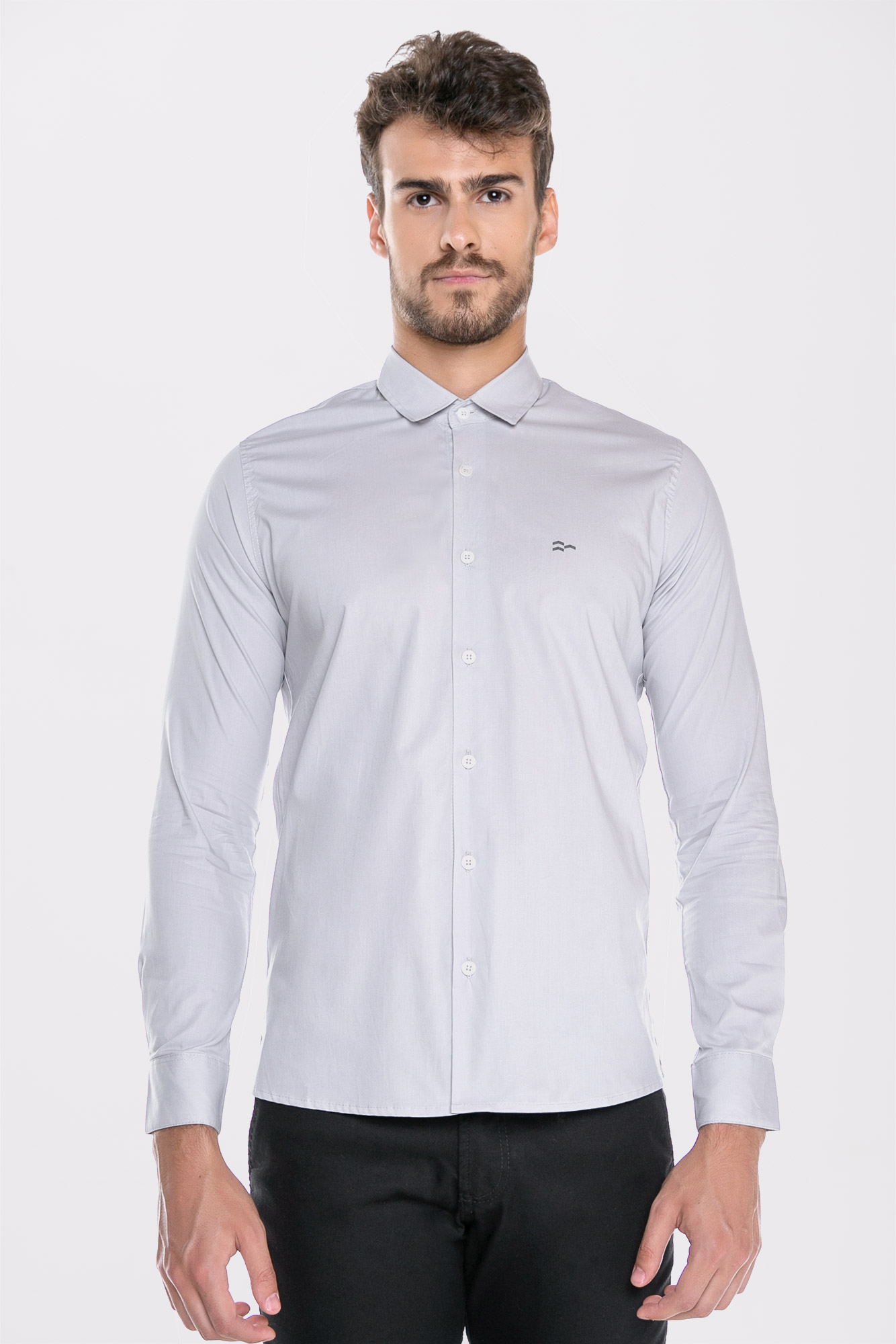 Camisa Social ML Confort Gray