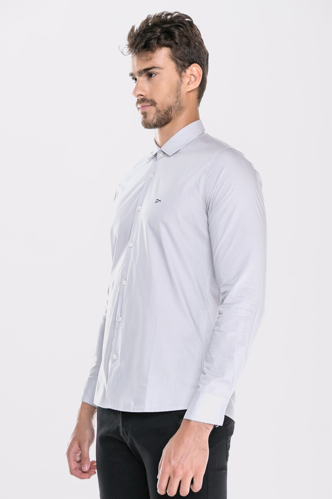 Camisa Social Ml Confort Gray