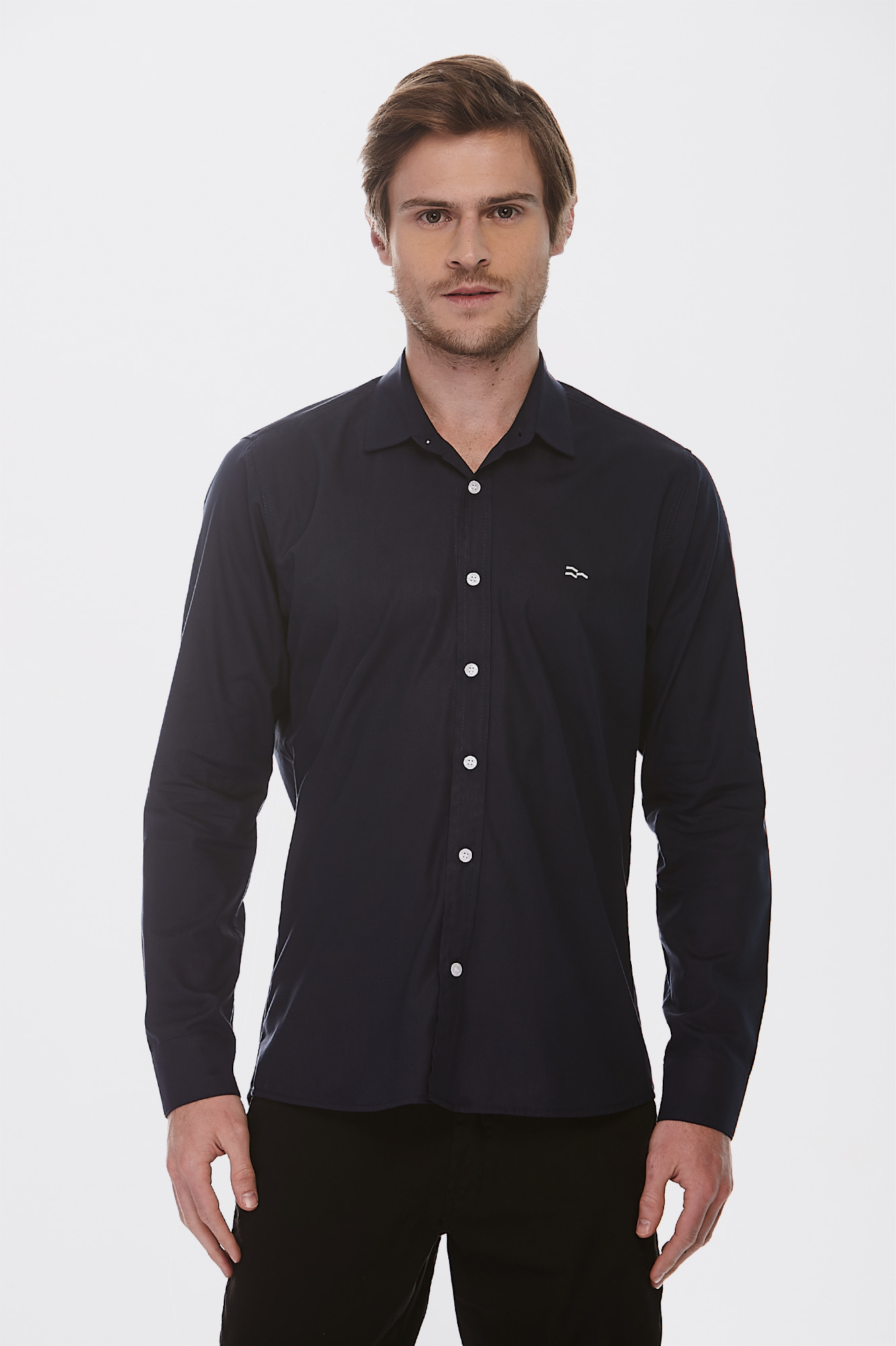 Camisa Social Ml Dark Blue