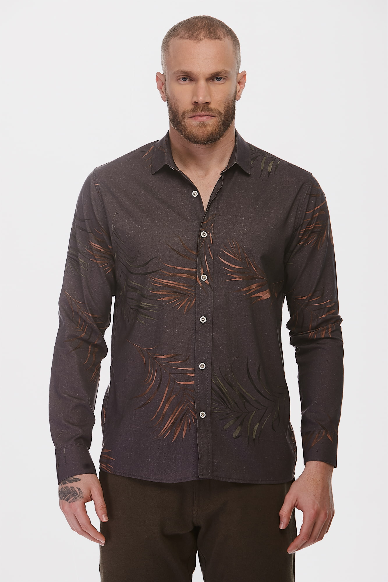 Camisa Social ML Tropical Leaves