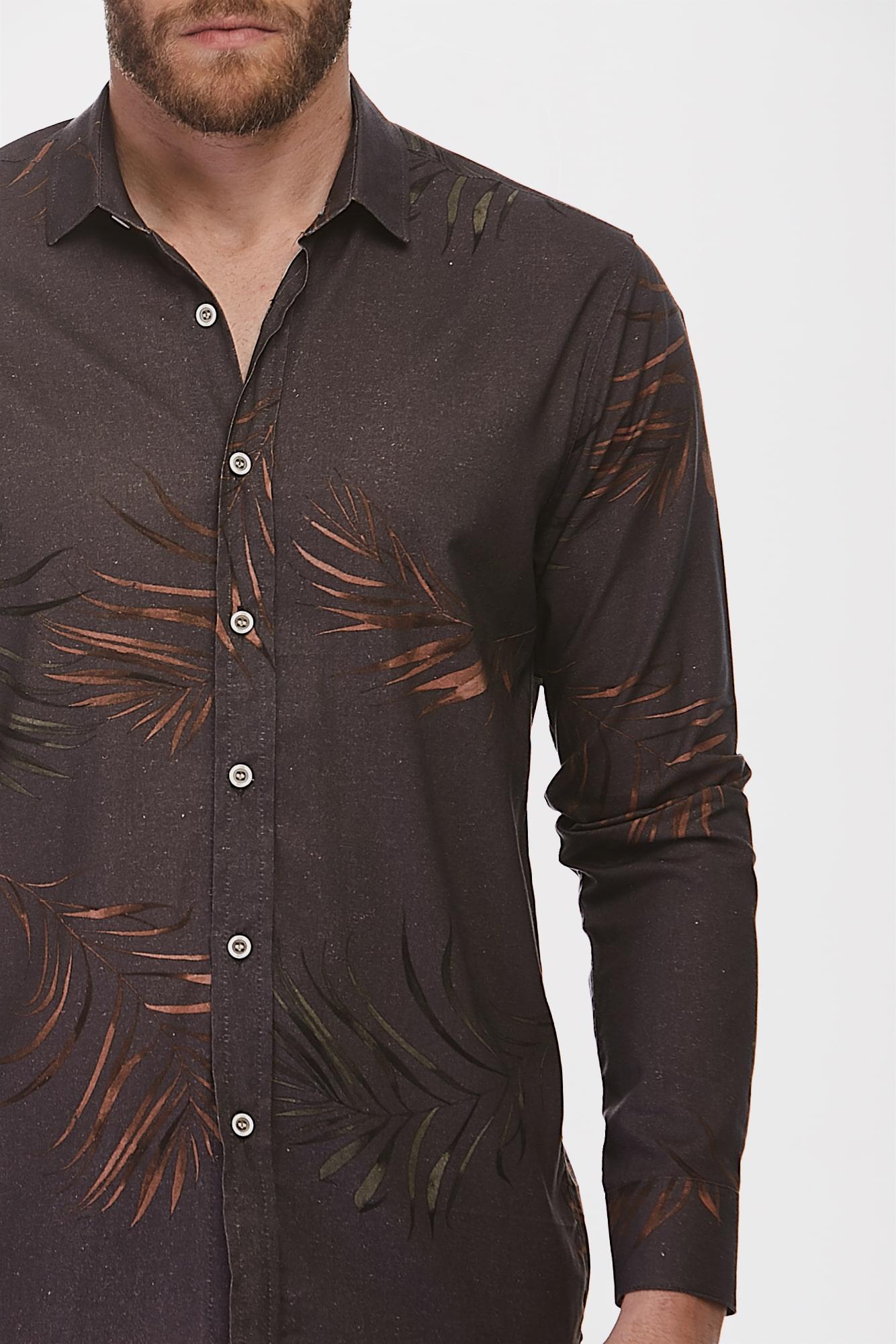 Camisa Social ML Tropical Leaves